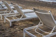Plastic sunbeds on Tsilivi beach in Zante Island stock photos