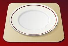 Empty white plate. On beige napkin Royalty Free Stock Photos