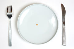 Empty white plate. With knife and fork Stock Photo