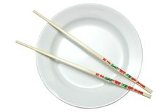 Empty White Plate with Chopsticks Stock Photo