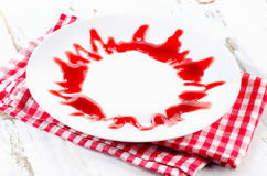 Empty white plate for desserts menu. Selective focus Stock Photography