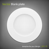 Empty white plate on grey bakcground. Vector EPS10 Stock Image