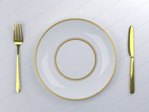 Empty white plate with knife and fork stock illustration