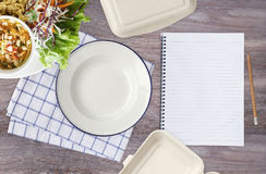 Empty white plate with napkin ,note book, pencil, paper meal box Stock Image