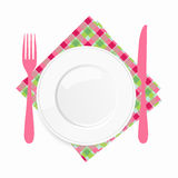 Empty white plate with a pink knife and fork on a checkered napkin Stock Photos