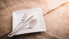 Empty white plate and  spoon, fork, knife Royalty Free Stock Image