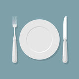 Empty white plate top view. Knife and fork. Cutlery. Vector illu Royalty Free Stock Photos