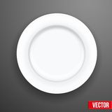 Empty white plate. Vector illustration Stock Photography