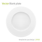 Empty white plate. Vector isolated on white. Royalty Free Stock Photography
