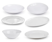Empty white plate on white background Royalty Free Stock Photos