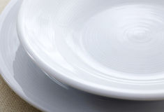 Empty white plates Royalty Free Stock Photography