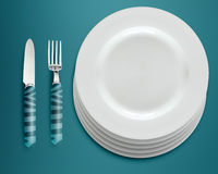 Empty white plates Stock Photo