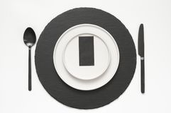 Black and white tableware Royalty Free Stock Image