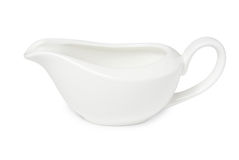 Empty white porcelain gravy boat Royalty Free Stock Images