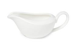Empty white porcelain gravy boat Royalty Free Stock Images