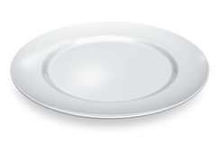 Empty white porcelain plate Royalty Free Stock Images