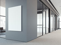 Empty white poster on the gray wall. 3d rendering royalty free illustration