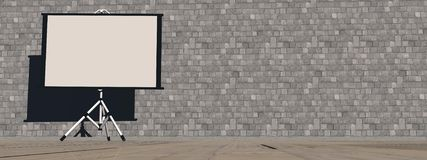 Empty white projector screen - 3D render. Empty white projection screen on the wallpaper background Royalty Free Stock Image