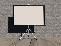 Empty white projector screen - 3D render. Empty white projection screen on the wallpaper background Stock Image