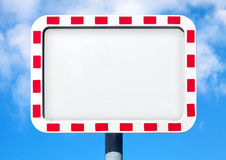 Empty white road sign with red striped frame Stock Images