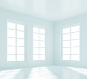 Empty White Room. 3d Illustration of Empty White Room with Windows Royalty Free Stock Photography