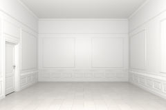 Empty white room. 3d scene of an empty white classic room Stock Images