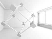 Empty White Room With Abstract Modern Design Element. 3d Render Illustration Royalty Free Stock Photo