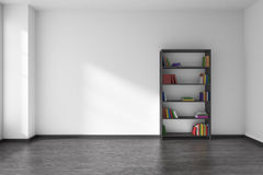 Empty white room with black bookshelf interior Stock Photos