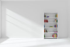 Empty white room with bookcase minimalist interior Stock Photos