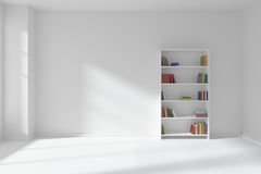 Empty white room with bookcase, minimalist interior Stock Photography