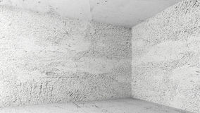 Empty white room with concrete walls Stock Photo