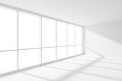 Empty white room corner with sunlight from large window. Business architecture white colorless office room interior - empty white business office room corner Stock Illustration