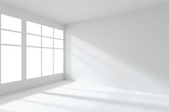 Empty white room corner with windows interior Stock Images