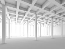 Empty white room, 3 d interior illustration Royalty Free Stock Photo