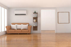 Empty white  room decoration with furniture in wood parquet and white room design in 3D rendering Royalty Free Stock Images