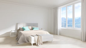 Empty white room interior with bed, white wooden floors Royalty Free Stock Photo