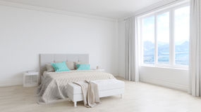Empty white room interior with bed, white wooden floors Stock Photos