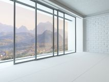 Empty white room interior with huge window Royalty Free Stock Images