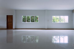 Empty white room interior in residential house building Stock Image