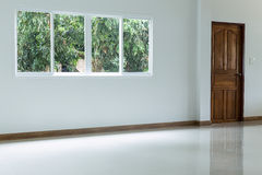Empty white room interior in residential house building Royalty Free Stock Image