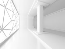 Empty White Room Interior With Window. Architecture Background Stock Photo