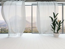 Empty white room interior with window and curtain Royalty Free Stock Photography