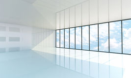 Empty white room with the large window. Blue sky on background Royalty Free Stock Photos