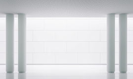 Empty white room modern space interior 3d rendering image. There is a pillar like a picture frame.Decorate wall with groove line in brick pattern.Decorate royalty free illustration