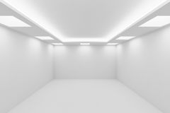Empty white room with square ceiling lights. Abstract architecture white room interior - empty white room with white wall, white floor, white ceiling with Royalty Free Stock Photography