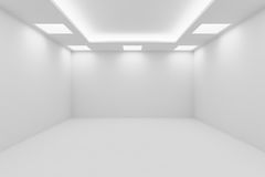 Empty white room with square ceiling lights. Abstract architecture white room interior - empty white room with white wall, white floor, white ceiling with square Royalty Free Stock Photo