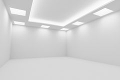Empty white room with square ceiling lights diagonal view Stock Photo