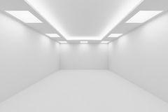 Empty white room with square ceiling lights perspective view Royalty Free Stock Images