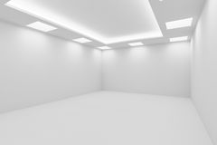 Empty white room with square ceiling lights view from corner Royalty Free Stock Images