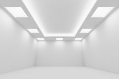 Empty white room with square ceiling lights wide perspective vie. Abstract architecture white room interior - empty white room with white wall, white floor Royalty Free Stock Photo